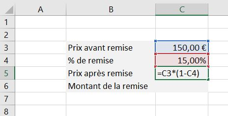 Copie d'écran d'Excel qui montre comment calculer une remise (partie 2/3)