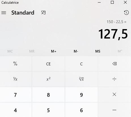 Copie d'écran d'une calculatrice que montre comment calculer une remise commerciale (partie 3/3)