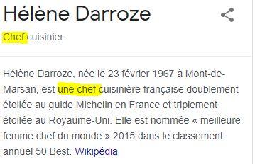 Copie d'écran de Wikipédia qui utilise le masculin du mot pour désigner « une chef »