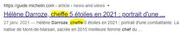 Copie d'ecran de l'entreprise Le guide Michelin qui utilise le mot féminin = « Cheffe »