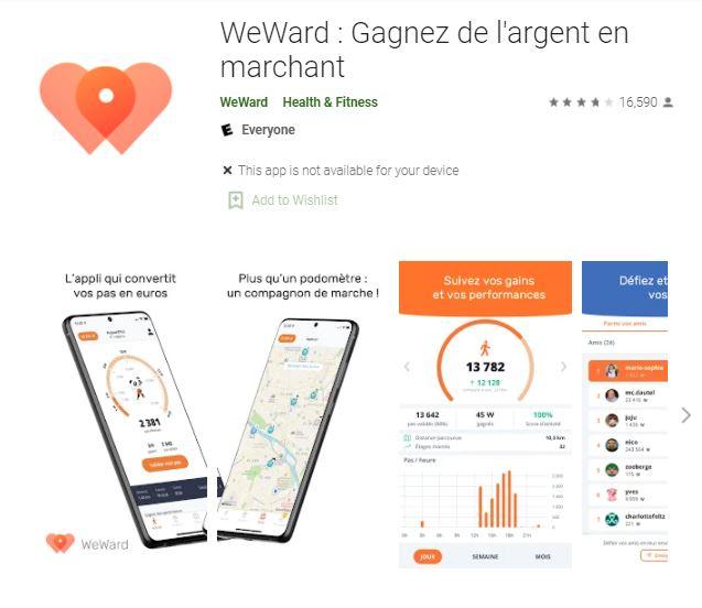 l'application WeWaard pour gagner de l'argent en marchant